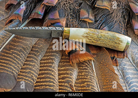 The zigzag pattern on the spine of a fixed blade knife displayed along with colorful turkey feathers. - Stock Photo