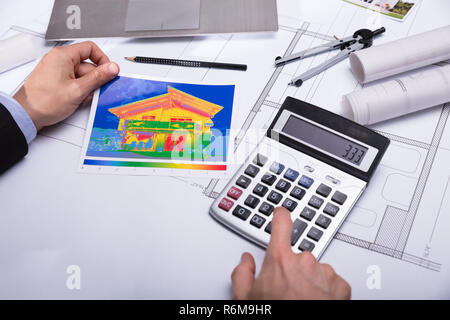 Close-up Of Architecture Holding Home Thermal Heat Loss - Stock Photo