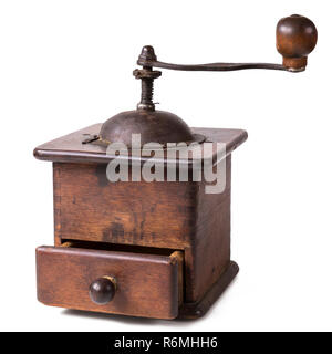 Old wooden coffee grinder with open drawer. Isolated on white background, with clipping path - Stock Photo