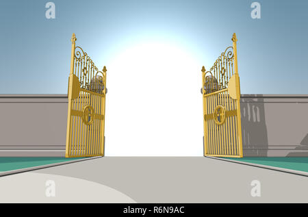 An illustrated depiction of the golden pearly gates of heaven fully opened on a blue sky background - 3D render - Stock Photo