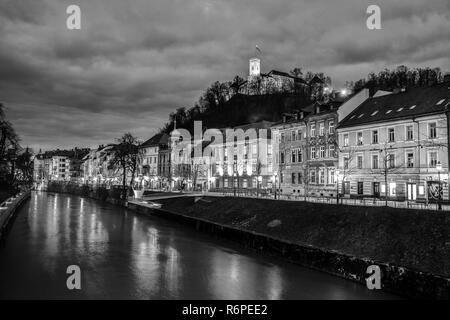 Evening panorama of riverfront of Ljubljana, Slovenia. - Stock Photo