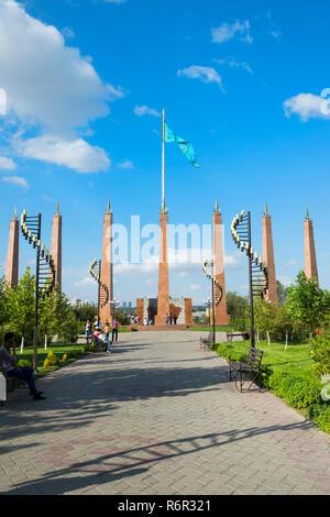 Granit obelisk, Independence Park, Shymkent, South Region, Kazakhstan, Central Asia - Stock Photo