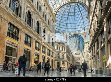 Galleria Umberto, shopping arcade,built between 1887–1891and designed by Emanuele Rocco, Via Toledo and  Via San Carlos, Naples, Italy. - Stock Photo