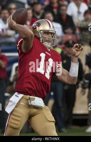 San Francisco, California, USA. 14th Jan, 2012. San Francisco 49ers quarterback Alex Smith (11) on Saturday, January 14, 2012 at Candlestick Park, San Francisco, California. The 49ers defeated the Saints 36-32. Credit: Al Golub/ZUMA Wire/Alamy Live News - Stock Photo