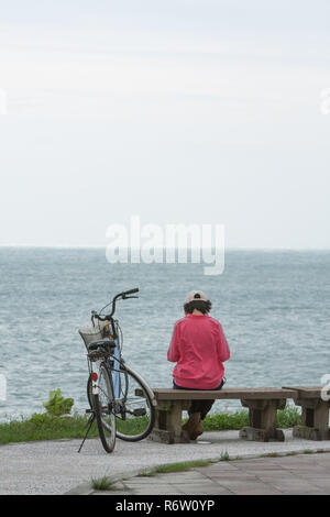 Female adult sits on wooden bench and reads a book at park along seashore, beside her bicycle, with her back to viewer, looking out to sea, Taiwan - Stock Photo