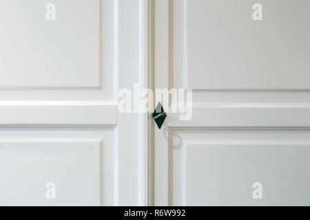 White closet doors wood closeup modern design - Stock Photo