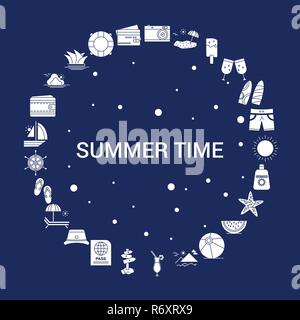 Creative Summer Time icon Background - Stock Photo