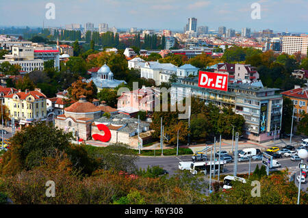 View of the old town of Plovdiv from Nebet tepe - Stock Photo