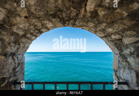 Window to the blue sea - Stock Photo
