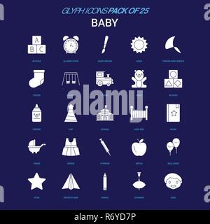 Baby White icon over Blue background. 25 Icon Pack - Stock Photo