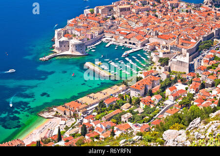Town of Dubrovnik UNESCO world heritage site aerial harbor view - Stock Photo