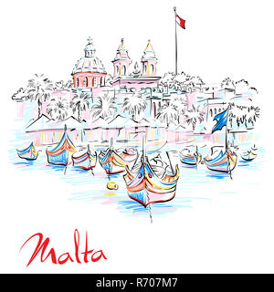 Taditional eyed boats Luzzu in Marsaxlokk, Malta - Stock Photo