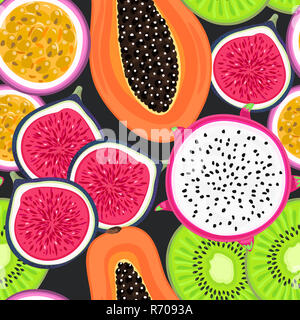 Vector seamless pattern with tropical fruits. Healthy dessert. Fruity background. Dragon fruit, kiwi, passionfruit, fig, papaya - Stock Photo
