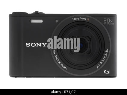 Sony DSC-WX350 compact digital camera on white background - Stock Photo