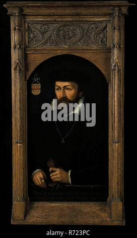 Portrait of Wilhelmus Cornelisz. Van Muylwijck, portrait painting visual material wood oil, Standing rectangular top arched portrait of man representing Wilhelmus Cornelisz. van Muylwyck Holy Spirit Master of Rotterdam From 1572 Mayor of Rotterdam. Half-sighted not looking at the head from the left, leaning for balustrade dark background. Beret beard white stand-up collar with pleated handjacket dark dress with fur ring two gloves in left hand chain Family coat of arms top left (top nine red cones red crossbar including six red cones). Inscription Front panel painted on balustrade: Ano 1565 WI - Stock Photo