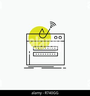 fraud, internet, login, password, theft Line Icon - Stock Photo