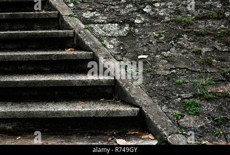 old diagonal stairs on the street - Stock Photo