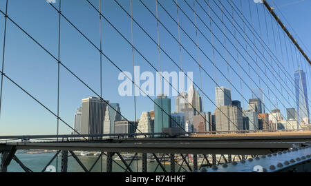 Walking through the streets of New York, Manhattan. The life of New York in the afternoon. Streets and city buildings. - Stock Photo