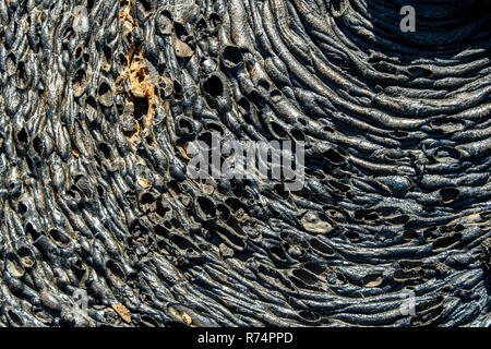 Drawings and forms on the lava flow of the island Santiago in the Galapagos, Ecuador - Stock Photo