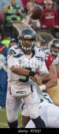 San Francisco, California, USA. 8th Dec, 2013. Seattle Seahawks quarterback Russell Wilson (3) on Sunday, December 8, 2013 in San Francisco, California. The 49ers defeated the Seahawks. 19-17. Credit: Al Golub/ZUMA Wire/Alamy Live News - Stock Photo