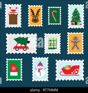 Different colorful christmas postage stamps for children, fun preschool activity for kids, letter to Santa Claus, set of stickers, vector - Stock Photo