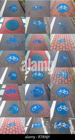 Collage of cycle track markings on a pavement, partly worn away - Stock Photo