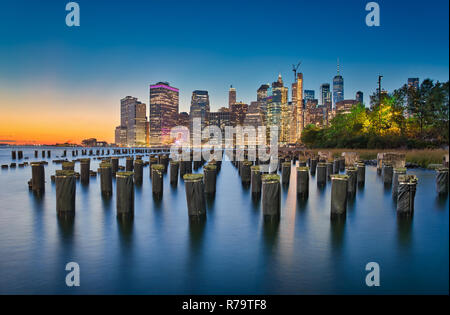 Long exposure photo at the Brooklyn Bridge Park in New York City - Stock Photo