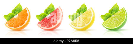 Isolated citrus fruits collection. Wedges of orange, pink grapefruit, lemon and lime with mint leaves on white background with clipping path - Stock Photo