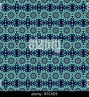 Cornflower blue floral symmetrical reflective pattern. - Stock Photo
