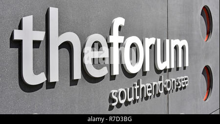Close up letters in Forum sign on building in Southend on Sea which has Higher Education learning resources & modern library building Essex England UK - Stock Photo