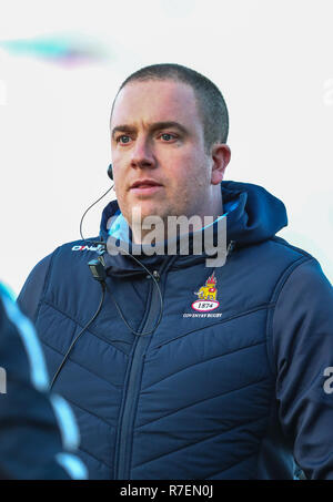 Coventry, UK. 8th December 2018. Coventrys Director of Rugby Rowland Winter during the Championship Cup match played between Coventry rfc and Doncaster Knights rfc at the Butts Park Arena, Coventry. Credit: Phil Hutchinson/Alamy Live News - Stock Photo