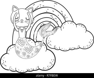 cute purrmaid with clouds and rainbow - Stock Photo