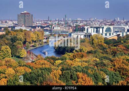 View from Victory Column over Tiergarten, River Spree, Chancellery, Berlin, Germany - Stock Photo