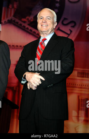Republican Presidential candidate, Senator John McCain, participates in the Republican Presidential Forum at the BankUnited Center in Coral Gables, Florida on December 9, 2007. - Stock Photo