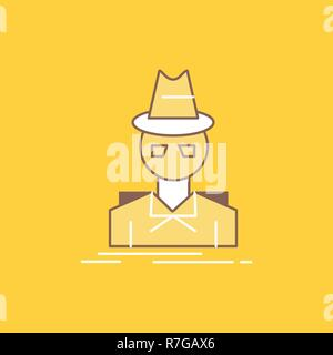 Detective, hacker, incognito, spy, thief Flat Line Filled Icon. Beautiful Logo button over yellow background for UI and UX, website or mobile applicat - Stock Photo