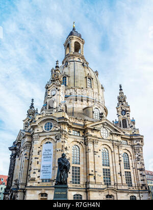 Frauenkirche with Martin Luther statue in Dresden, Germany. Religious architecture. Travel destination. - Stock Photo