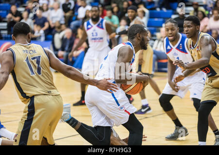 Crystal Palace National Sports Centre, London, UK, 9th Dec 2018. Tensions run high between home team London City Royals and visitors Glasgow rocks in the BBL Championship game. Royals win 84-70. Credit: Imageplotter News and Sports/Alamy Live News - Stock Photo