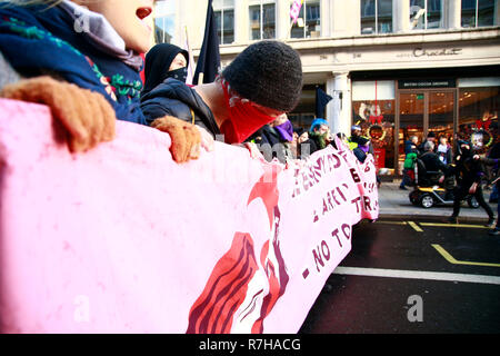 London, UK. 9th Dec 2018. Anti Racist protesters oppose UKIP and Tommy Robinson march, Central London - 09=12=2018 Credit: Natasha Quarmby/Alamy Live News - Stock Photo