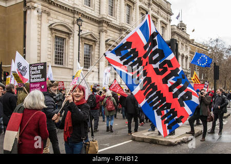London, UK. 9th Dec, 2018. Thousands marched in a anti-racist counter demonstration against the far right organised 'Brexit betrayal' march in central London and heavily outnumbered the racist UKIP led march. Credit: David Rowe/Alamy Live News - Stock Photo