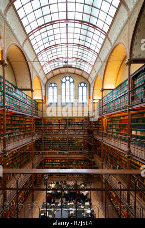 Interior of art history research library at the Rijksmuseum in Amsterdam, The Netherlands - Stock Photo