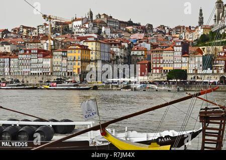 Calem Porto boat docked on Duoro river in  Vila Nova de Gaia. Oporto, 2016 - Stock Photo