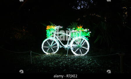 Bycicle decorated with fairy christmas lights isolated at black night with beautiful flowers and plants in the basket - Stock Photo
