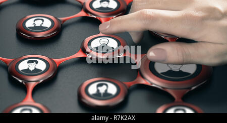 Finger pressing an avatar to select a contact inside a business network. Composite image between a hand photography and a 3D background. - Stock Photo