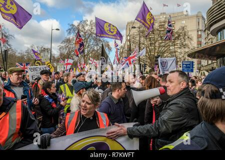 London, UK. 9th Dec, 2018. Thousands march from the Dorchester Hotel to Whitehall in central London to demand that there is no betrayal over Britain's exit from the European Union. Credit: Lewis Inman/SOPA Images/ZUMA Wire/Alamy Live News - Stock Photo