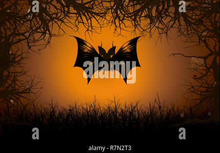 Bats flying in the forest on halloween night. - Stock Photo