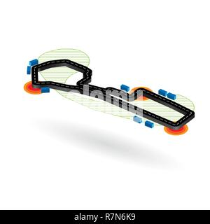 Black road circuit with danger corners isolated on white background - Stock Photo