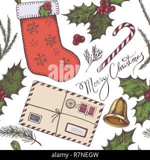 Seamless pattern with colored letters, bells, stocking, lettering, holly, spruce, redwood - Stock Photo
