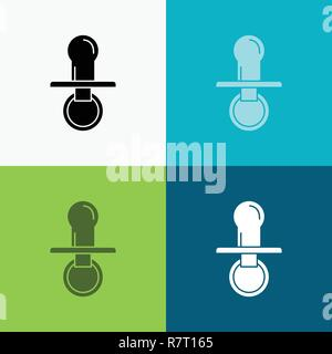 nipple, baby, dummy, pacifier, kids Icon Over Various Background. glyph style design, designed for web and app. Eps 10 vector illustration - Stock Photo