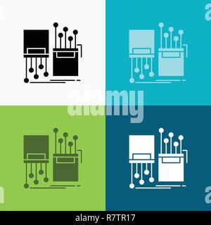 digital, fiber, electronic, lane, cable Icon Over Various Background. glyph style design, designed for web and app. Eps 10 vector illustration - Stock Photo