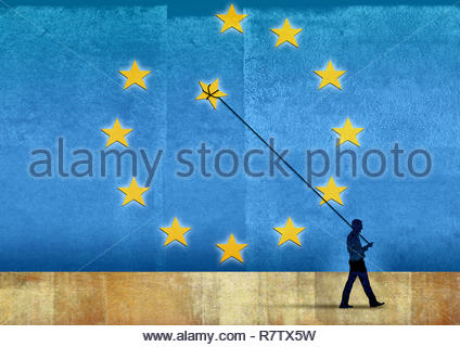 Man removing star balloon on string from European Union flag - Stock Photo